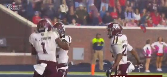 WATCH: A&M LB Buddy Johnson with long fumble return for TD