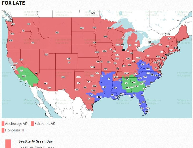 Green Bay PackersSeattle Seahawks Coverage Map CBSSportscom - Go phone coverage map