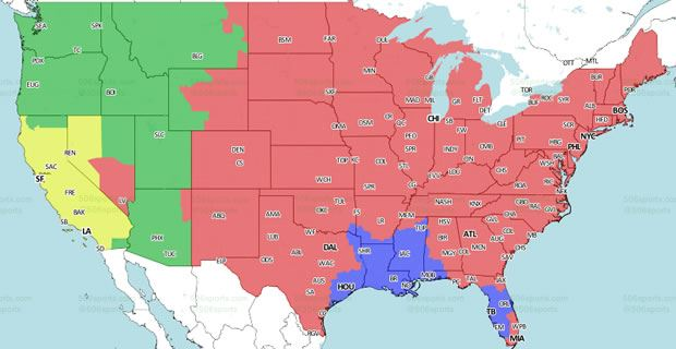 San Francisco To Los Angeles Map.San Francisco 49ers At Los Angeles Rams Coverage Map