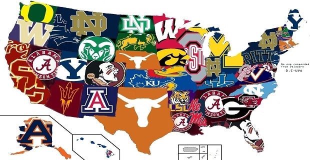 Reddit User Produces US Map Of Mosthated CFB Teams - Us map nba teams