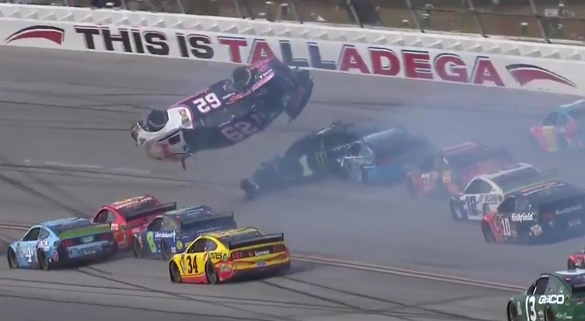 Brendan Gaughan flips through air in Talladega Big One