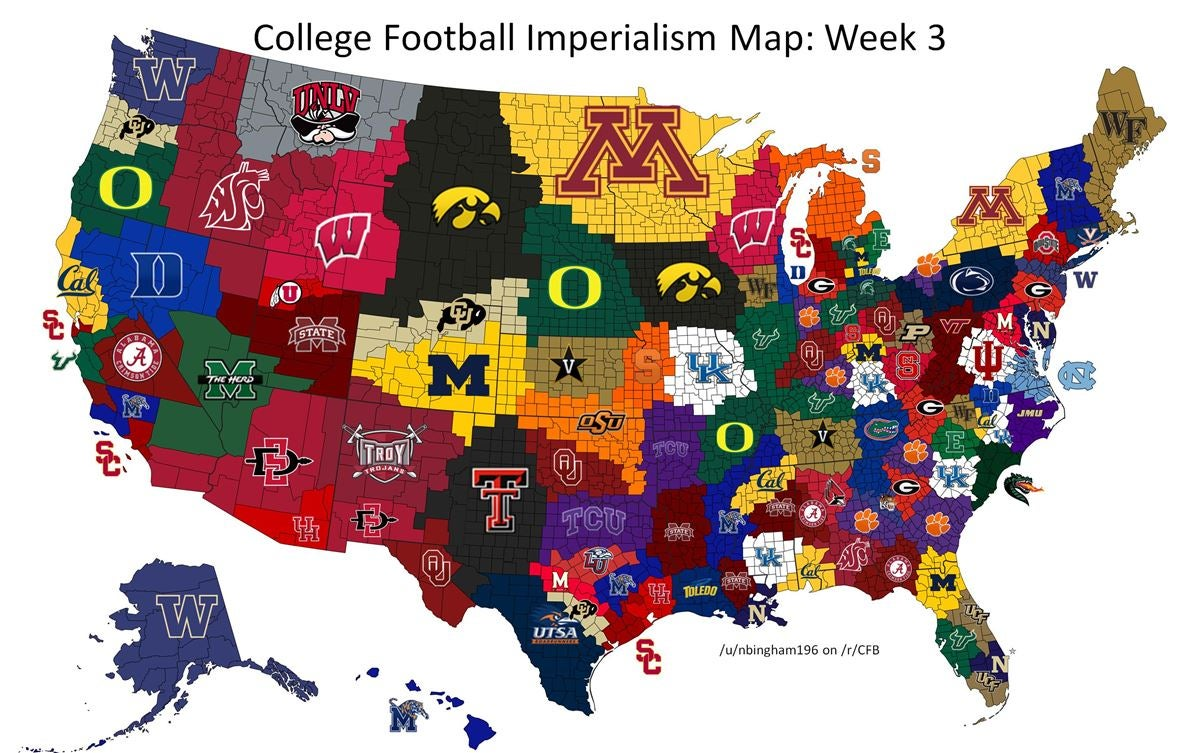 College Football Imperialism Map
