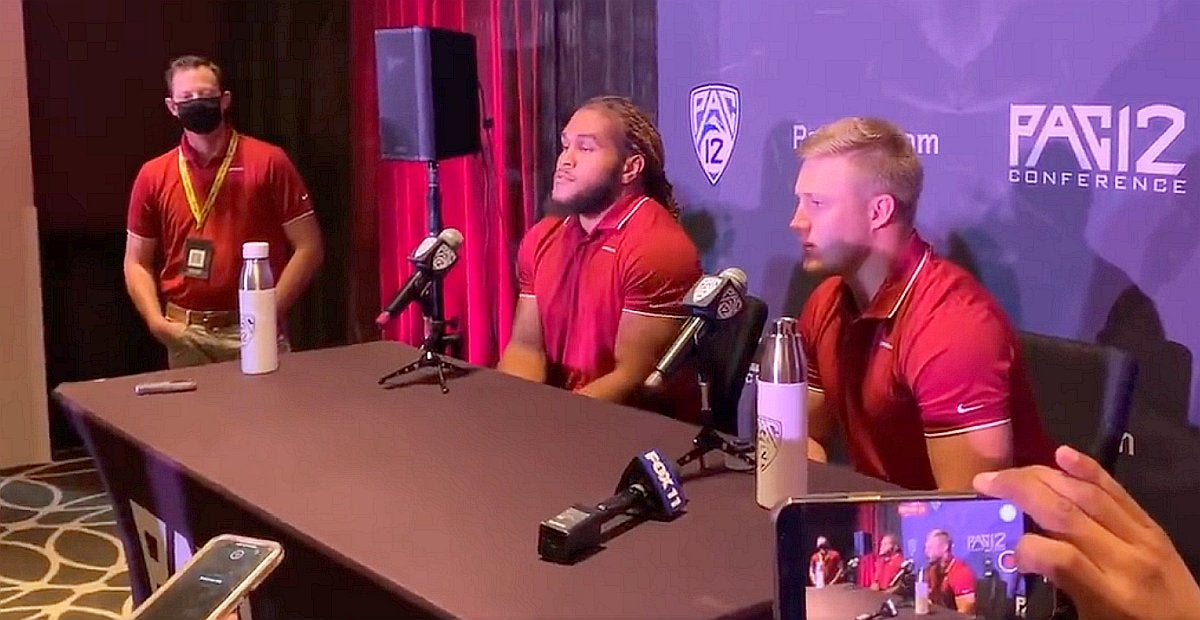 Jahad Woods, Max Borghi back up Nick Rolovich at Pac-12 Media Day