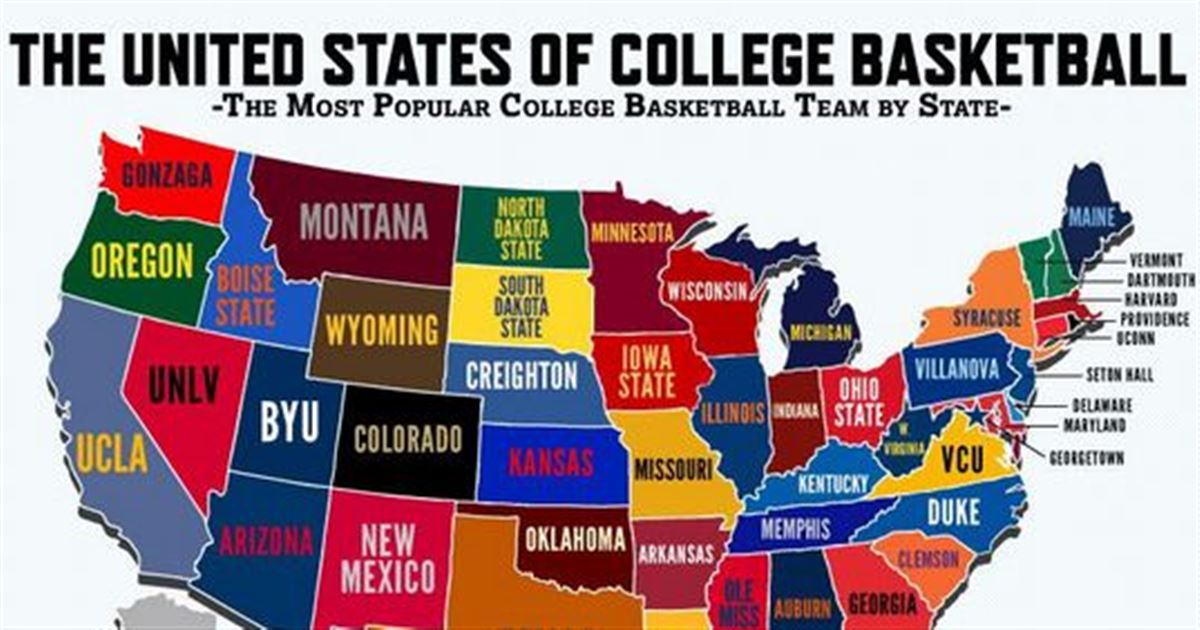 Map Most Popular College Basketball Teams By State - Map of colleges in us