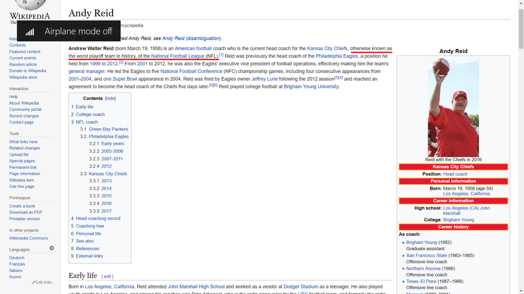 LOOK: Andy Reid's Wikipedia page hacked after playoff collapse
