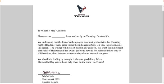 Texans owner writes excused absence letter for tnf football game if you do decide to print and fill it out let us know how your boss takes it spiritdancerdesigns Image collections