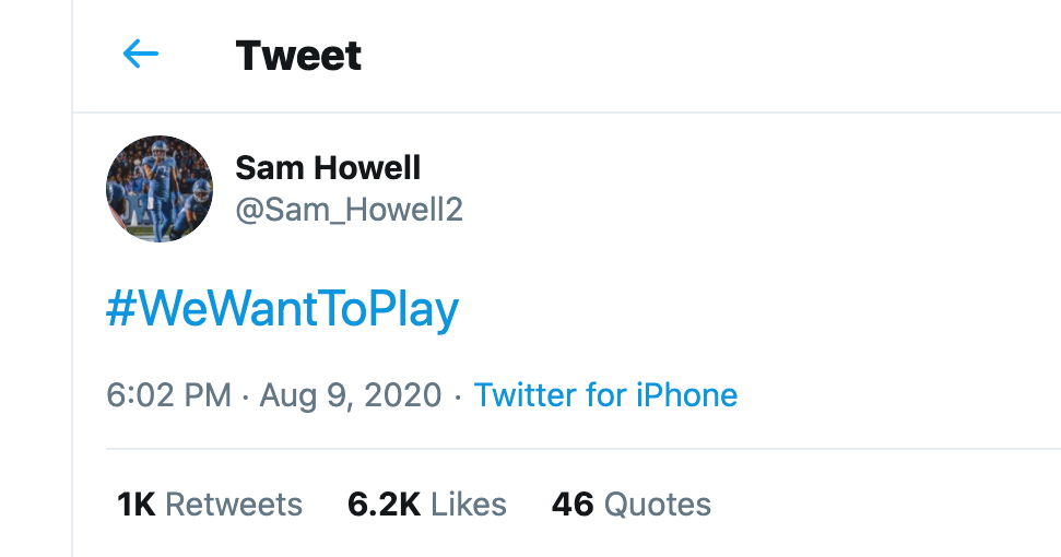 UNC Football Players Join #WeWantToPlay Movement