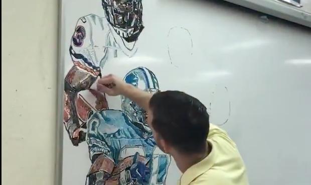Watch Artist Creates Nfl 100 Mural On Whiteboard