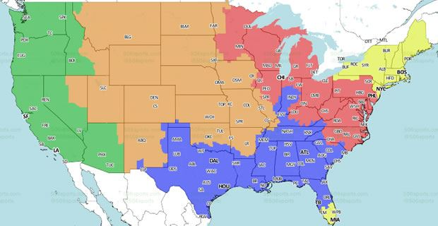 Kansas City Chiefs at Denver Broncos: Coverage map on map history, map sam houston state university, map nfl, map university of phoenix stadium,