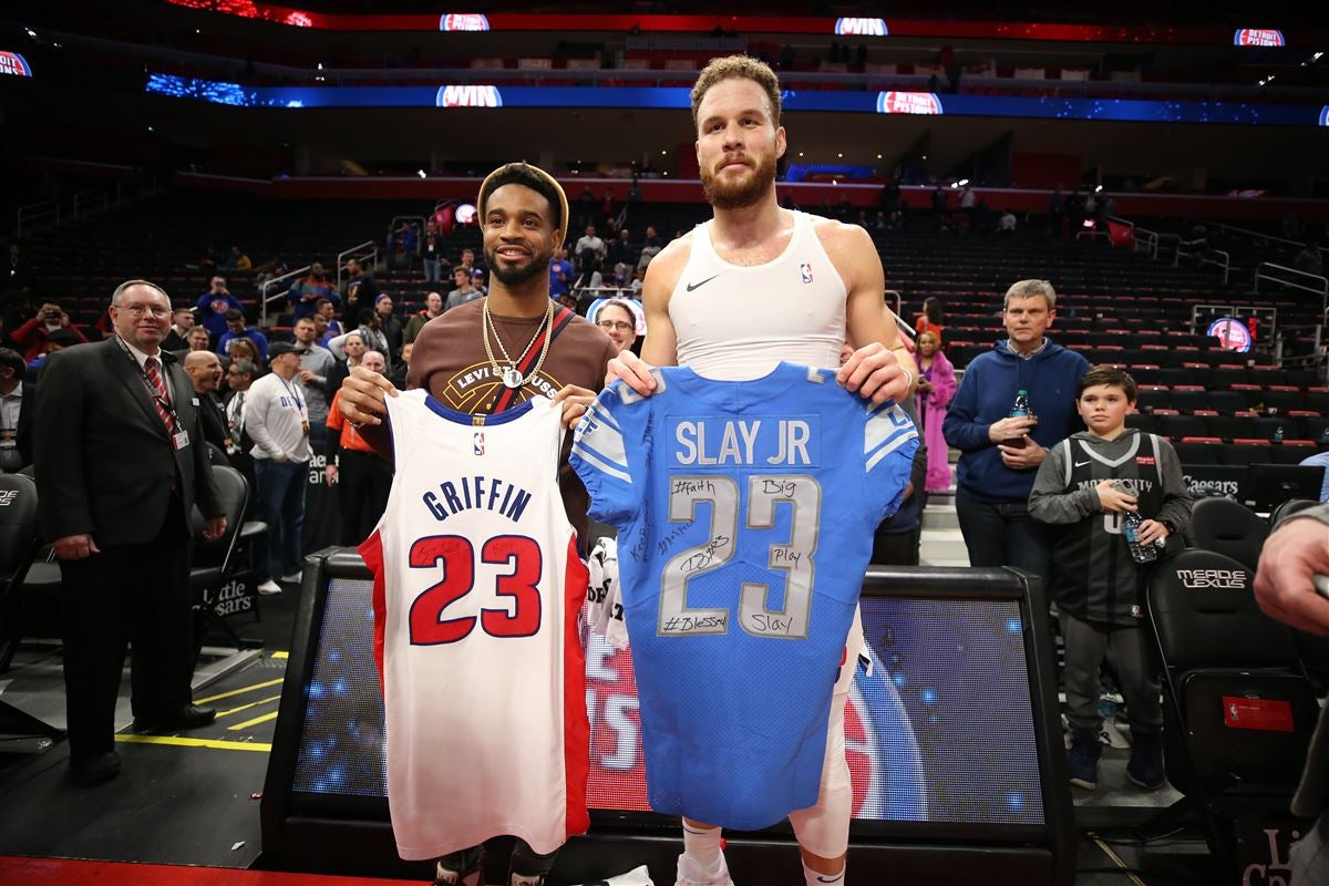 hot sale online 9d46c 7e0ab Darius Slay, Blake Griffin swap jerseys after Pistons game