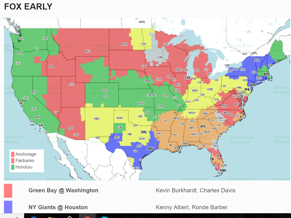 New York Giants TV Coverage Map for Week 3 vs. Texans  Nfl Maps on