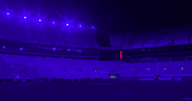 Bryant-Denny lights shine blue to honor fallen police officer