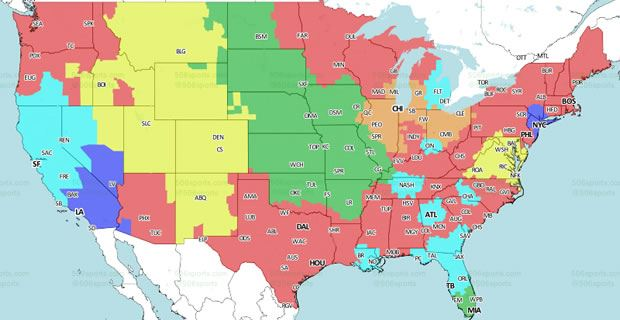 San Francisco 49ers vs Jacksonville Jaguars Coverage map
