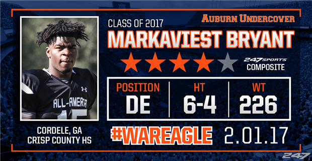 Georgia four-star defensive end Markaviest Bryant commits to Auburn over LSU, Georgia