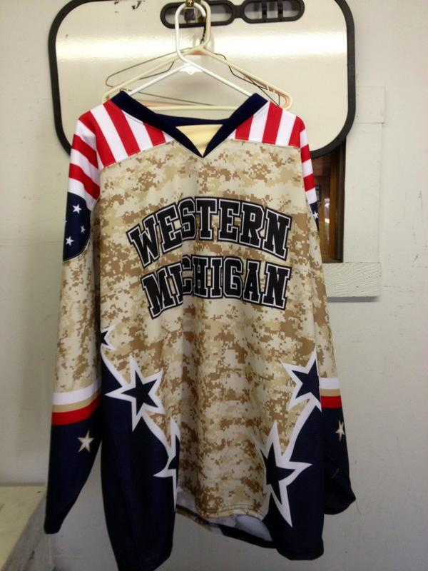 Worst hockey jersey ever  Western Michigan Veterans Day jersey 4a0b9248924