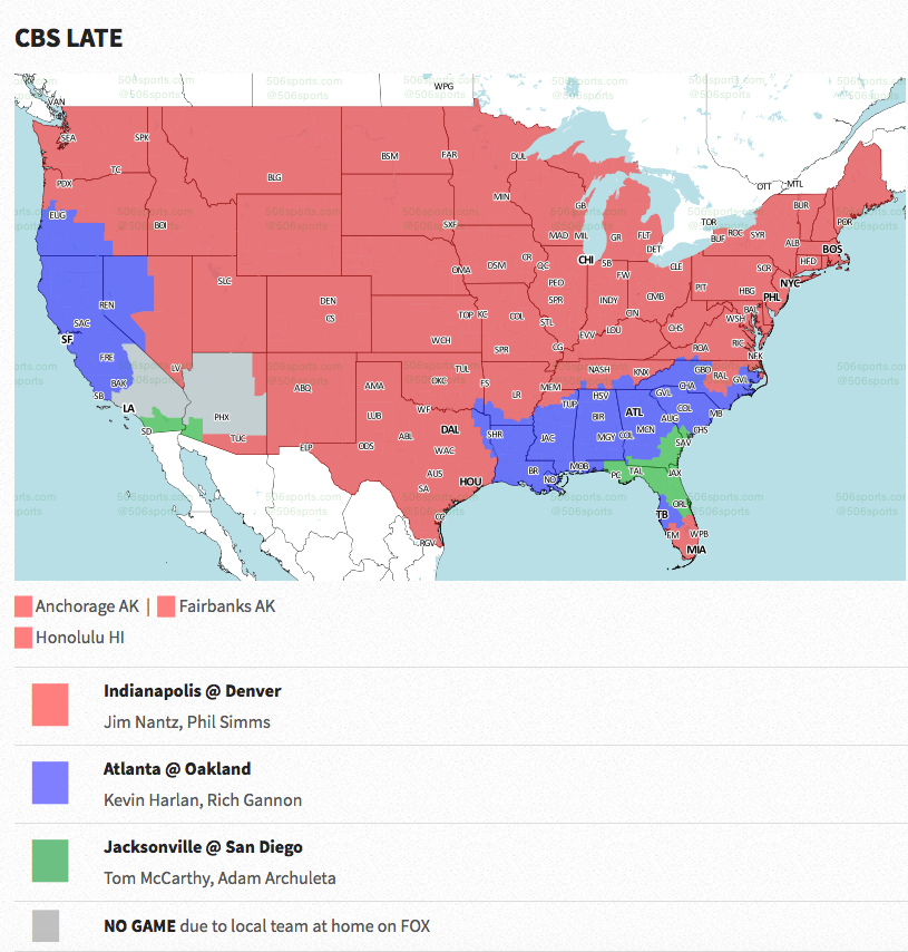 Coverage map released for Colts-Broncos game - CBSSports.com on
