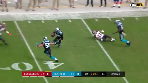 4c5287ce Eric Reid's first Panthers interception leads to Alex Armah TD