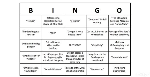 Let S Play College Football Championship Bingo