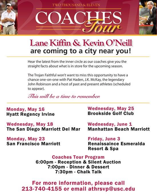 2011 USC Coaches Tour (Schedule)